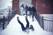 Student slips on snowy staircase, Johns Hopkins University