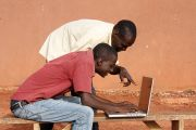 Africans using a laptop