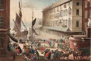 'Billingsgate Market', London, 1808 by J. Bluck after Rowlandson and Pugin