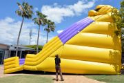 Bouncy castle inflating