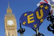 EU banner outside Parliament