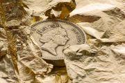 British pound coin on gold leaf