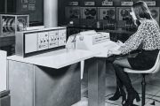Cathy Gillespie working on IBM 360