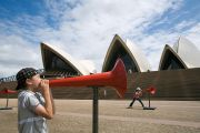 Child with megaphone at Sydney Opera House