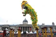 Chinese dragon performer in London