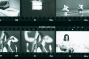 Contact sheet of black and white photos