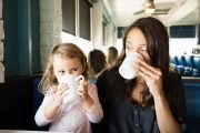 Woman and little girl drinking coffee