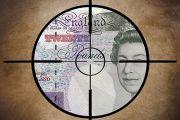 Crosshair on money