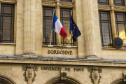 Facade of Sorbonne in Paris