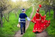 Kazakh couple in fairy tale dress