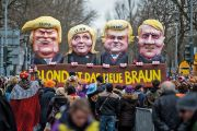 Protest figures of Trump, Le Pen, Wilders and Hitler