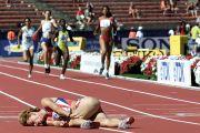 female runner lays on the floor