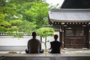 Foreigners at Japanese temple