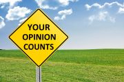 Sign saying 'Your Opinion Counts'