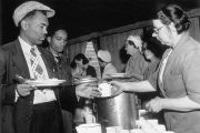 Jamaican immigrants in South London canteen, 1948