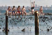 Jumping off a pier