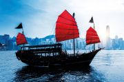 Junk sailing in Hong Kong harbour