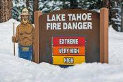 Lake Tahoe fire sign