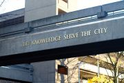 Let Knowledge Serve the City sign, Portland State University