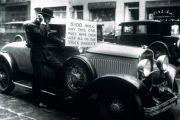 Man selling car after Stock Market Crash, 1929
