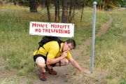 Man trespassing on private land