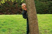 Man wearing mask behind tree