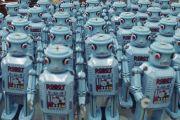 Mass of blue robots