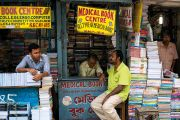 Men looking after book stalls, College Street, Kolkata, India