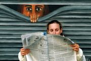 Mural peering at person reading newspaper