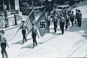 nazi flag and american flag