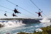Adventurous people at Niagara Falls