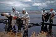 Oil spill workers