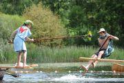 Participants fight during Fischerstechen fishermen joust competition