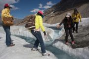 People on glacier walk, Jasper National Park, Alberta, Canada
