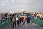 People on Millennium Bridge, London