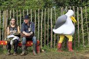 Person in seagull costume