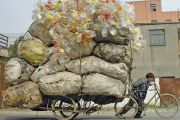 Pile of rubbish on a bike