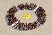 Protesters form giant circle on Bondi Beach, Australia
