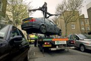 Car removed by a crane