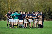 Rugby team huddle
