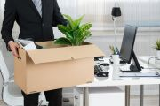 Sacked employee puts items in box