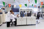 Scientists working in laboratory decorated with bunting