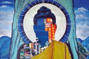 Shopping district superimposed over head of Buddha