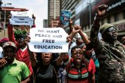 South African students protesting for free education
