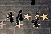 Aerial view of people on the Hollywood walk of fame
