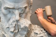 Statue being worked on