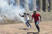 Students running during protest, University of the Witwatersrand