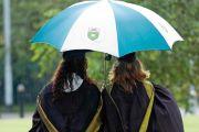 Students under an umbrella