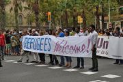 Syrian refugees crisis. Pro-refugee demonstration in Barcelona