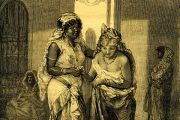 Women's bath, hammam, in Morocco, Africa, historic print from 1877